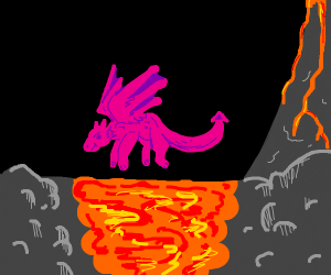 Little dragon flying over lava