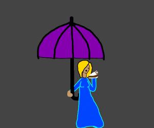 Woman eating cake under an umbrella
