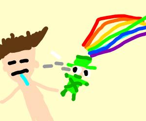 leprechaun with a rainbow watch guy sleeping