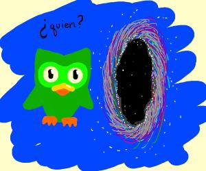 The Duolingo Bird questioning a Nether Portal