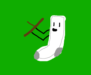 sock holding a stick up