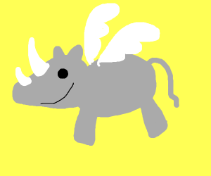 Happy Rhino with wings