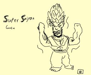 Goku (I think) goes super saiyan