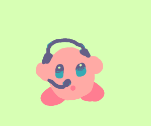 detailed kirby with headphones and mic