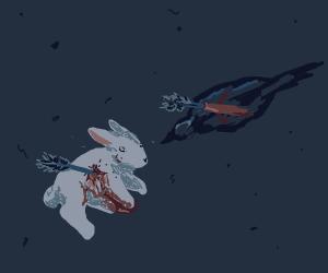crow killed bunny with an arrow