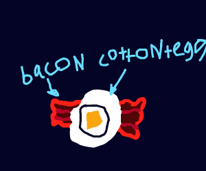 egg on bacon with cotton