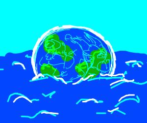 Earth floating in an ocean