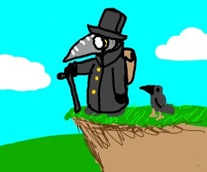 Plague doctor on a cliff with a crow