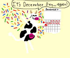 cow celebrates december holiday