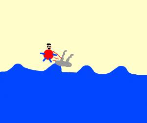 Fat man falls of boat