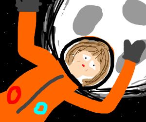 spacegirl in front of moon