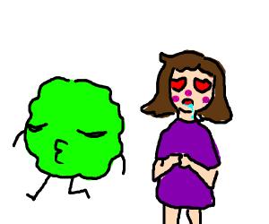 Girl loves lettuce