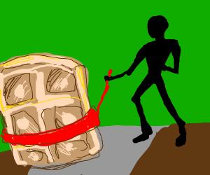 guy walking his pet waffle