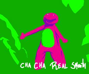 Barney doing the cha cha slide