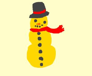 A yellow snowman
