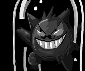 Gengar With A Mustache In A Bottle