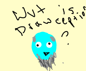 old blue dot asks about drawception