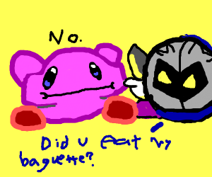 Kirby nonchalantly eating a baguette