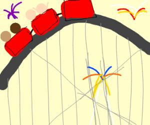 Amusement park and fireworks