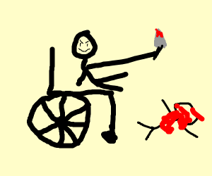 wheelchair man contemplates his latest murder