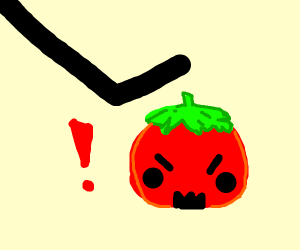 Stepping on a angry tomato