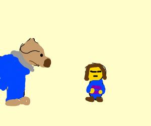 Sans dog and Frisk gnome