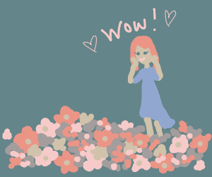 Girl marvels at pretty flowers