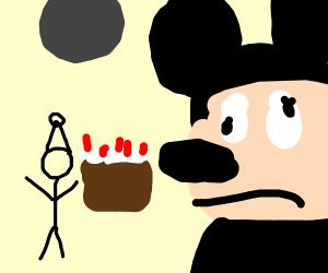 Mickey Mouse sad at B-day