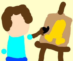 Bob Ross painting a twinkie with legs
