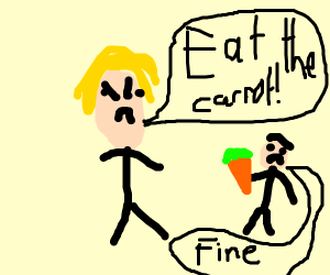 blonde commands kid to eat carrot