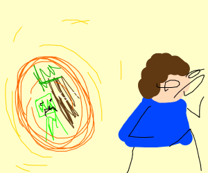 A white person runs away from portals