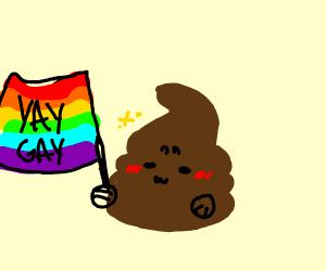 Piece of poop celebrating pride (happy pride)