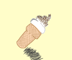 Ice cream falling with brown sprinkles