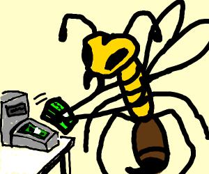 a hornet taking money