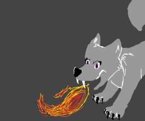 Wolf breathing fire