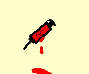 broken blood in syringe