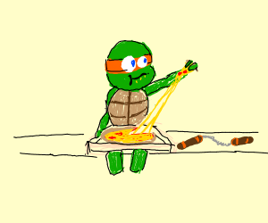 Mikey (tmnt) with pizza