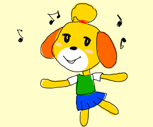 Isabelle from Animal crossing, dancing