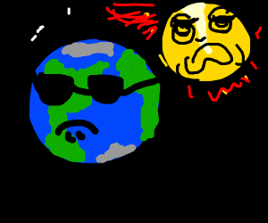 the Sun explodes while Earth looks on