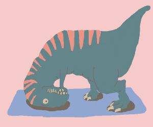Dinosaur doing yoga
