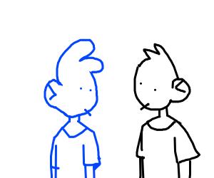 blue man and black man
