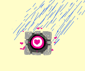 companion cube taking a big fat shower