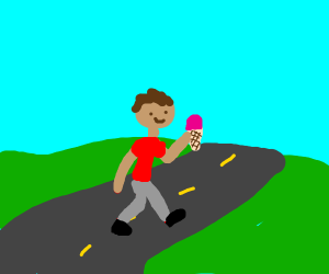 Man with ice cream crossing the road