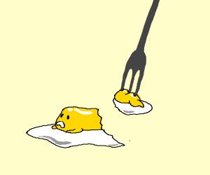 Gudetama is being eaten