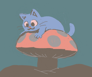 Cute Cat on a Mushroom