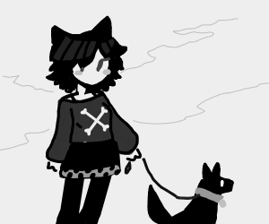 An emo tranny with a dog