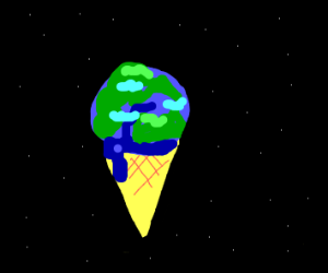 Ice cream but the cone is earth
