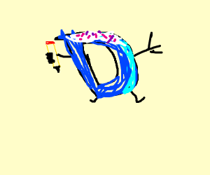Drawception D with icing and sprinkles on top