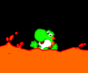 yoshi is dying in lava