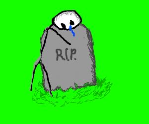 Stickman cries on gravestone